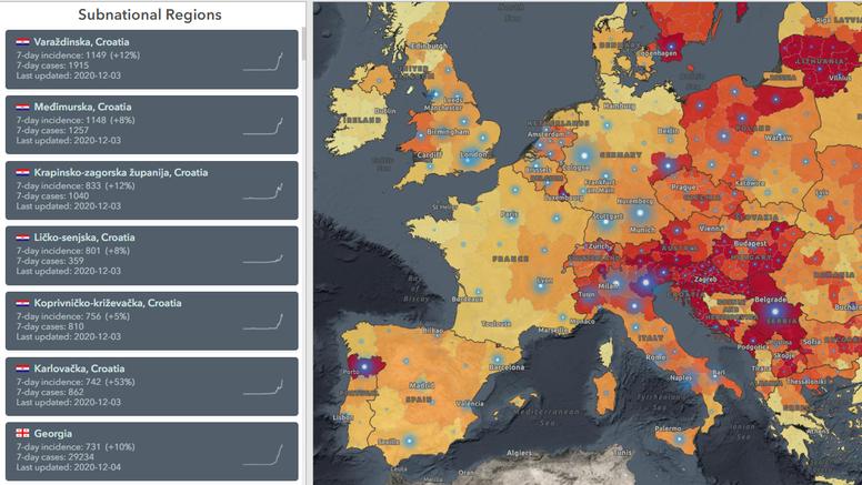 WHO sastavio kartu najgorih regija po zaraženosti: Naše su županije na prvih šest mjesta