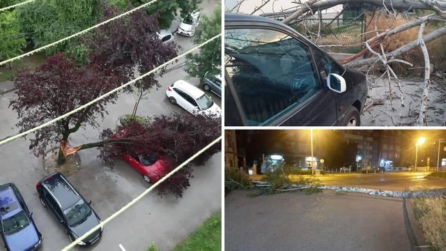 U Zagrebu i Splitu palo nekoliko stabala na ceste i aute, u Senju naleti bure od 153 km/h