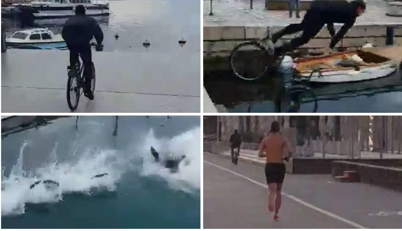Za njih nema zime: Biciklom se bacio u more, drugi trči polugol