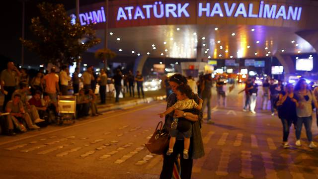 People leave Turkey's largest airport, Istanbul Ataturk