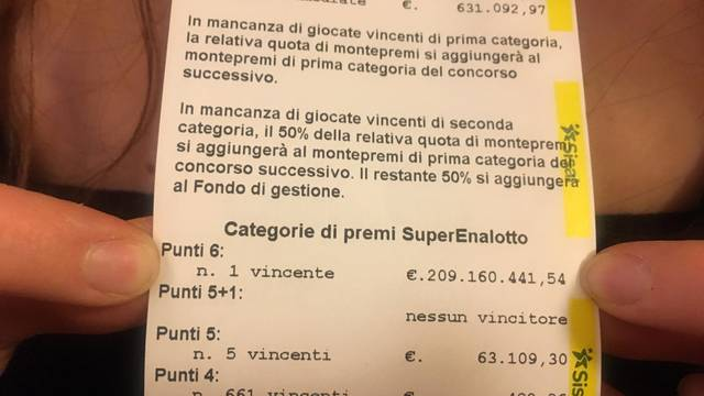 Record win at the Superenalotto, took the 6 at Bar Marino, in Via Cavour 46