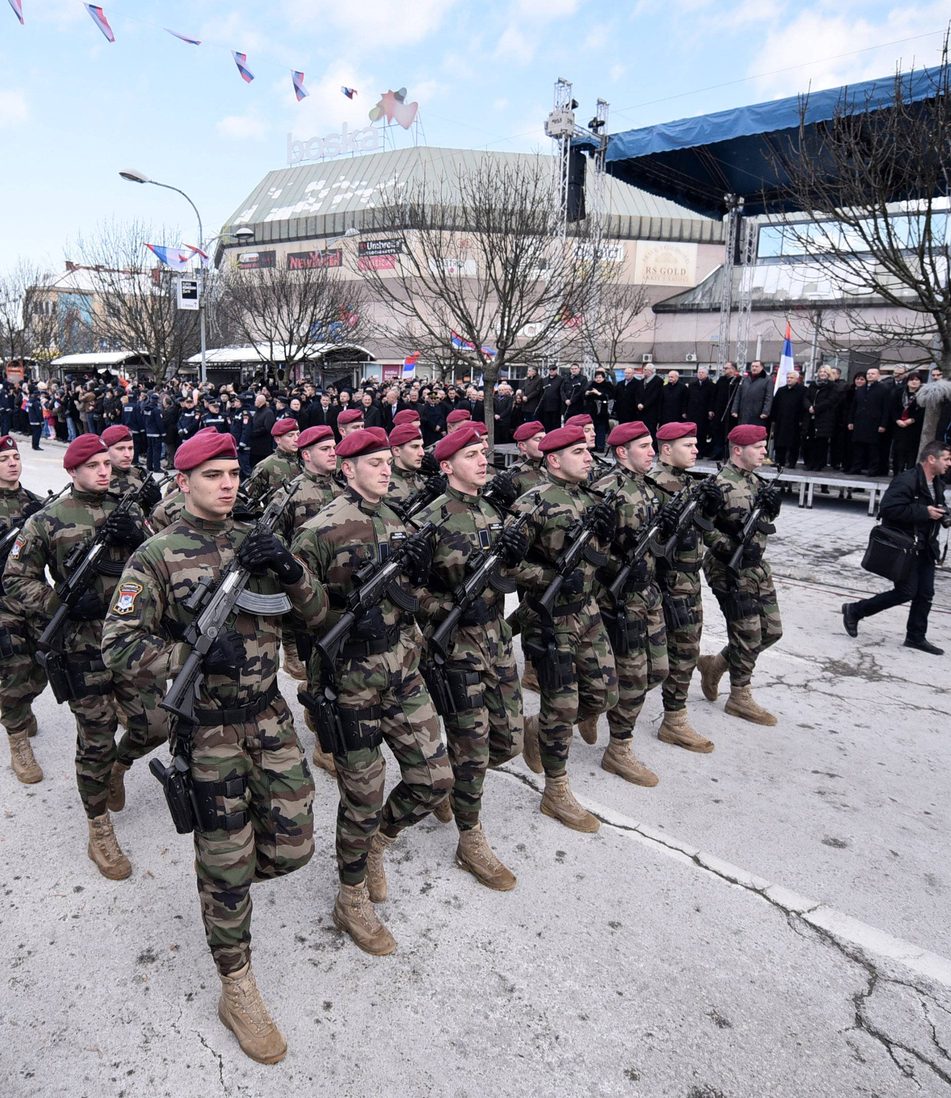 Members of special police forces of Republic of Srpska march during a parade marking the anniversary of Republic of Srpska in Banja Luka