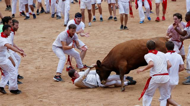 A reveller is tossed by a wild cow following the first running of the bulls at the San Fermin festival in Pamplona