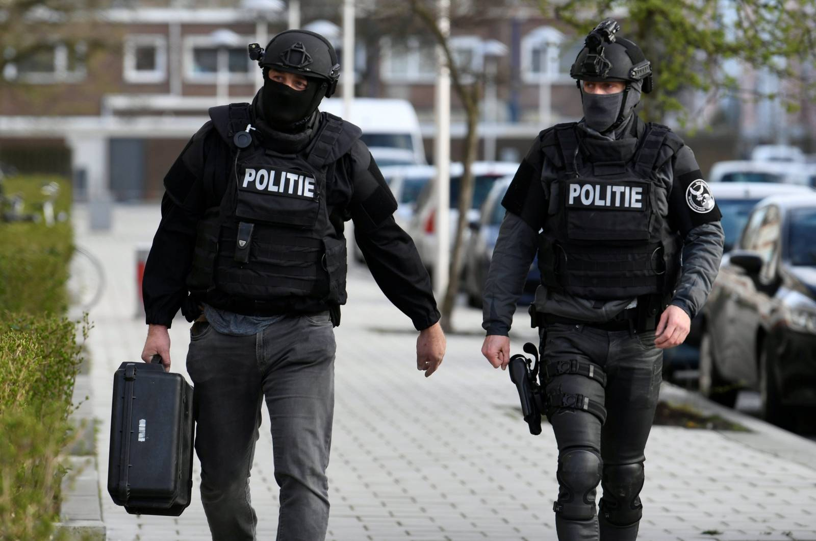 Police officers are seen after a shooting in Utrecht