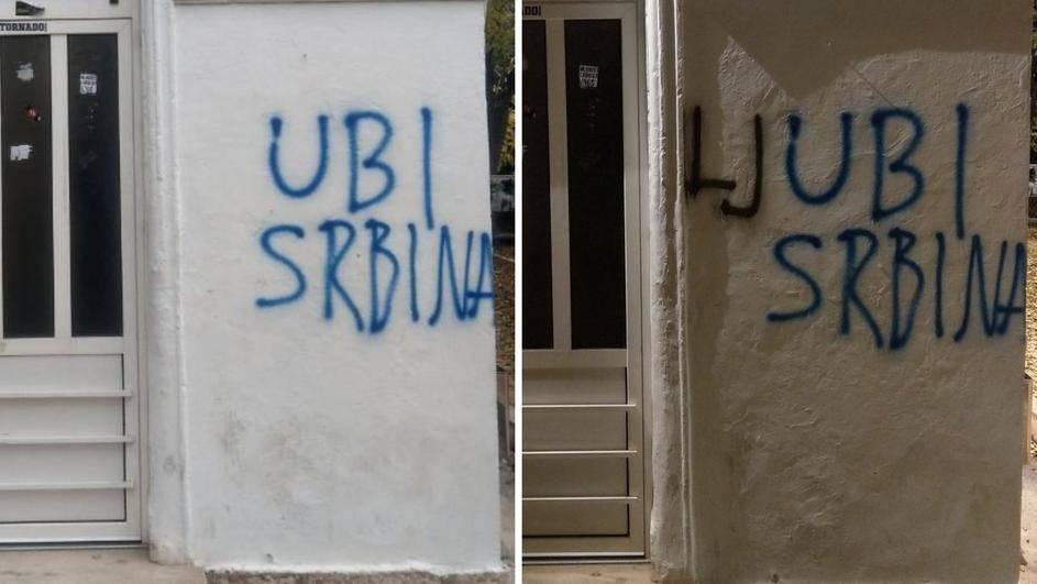 Ispravio  'ubi Srbina' u 'ljubi Srbina' pa završio na policiji