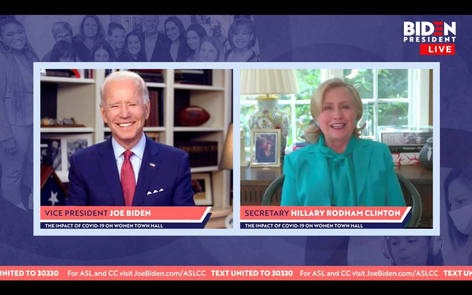 Democratic U.S. presidential candidate Joe Biden reacts as Hillary Clinton endorses him for president during online town hall