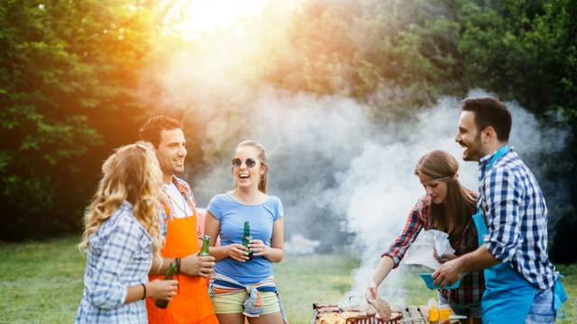 Friends,Having,A,Barbecue,Party,In,Nature,While,Having,A