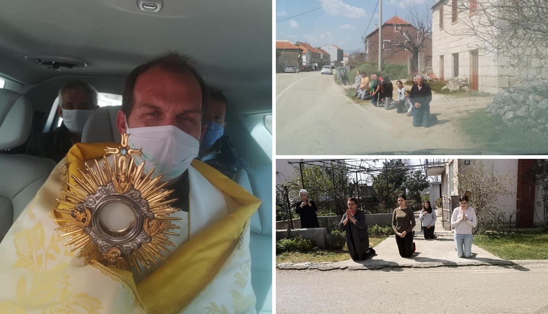 Župnik ponio  Presveti oltarski sakrament pa blagoslovio župe