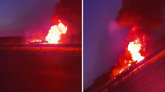Zapalio se BMW 5 na obilaznici kraj Vrbovca: 'Izgledalo je grdo'