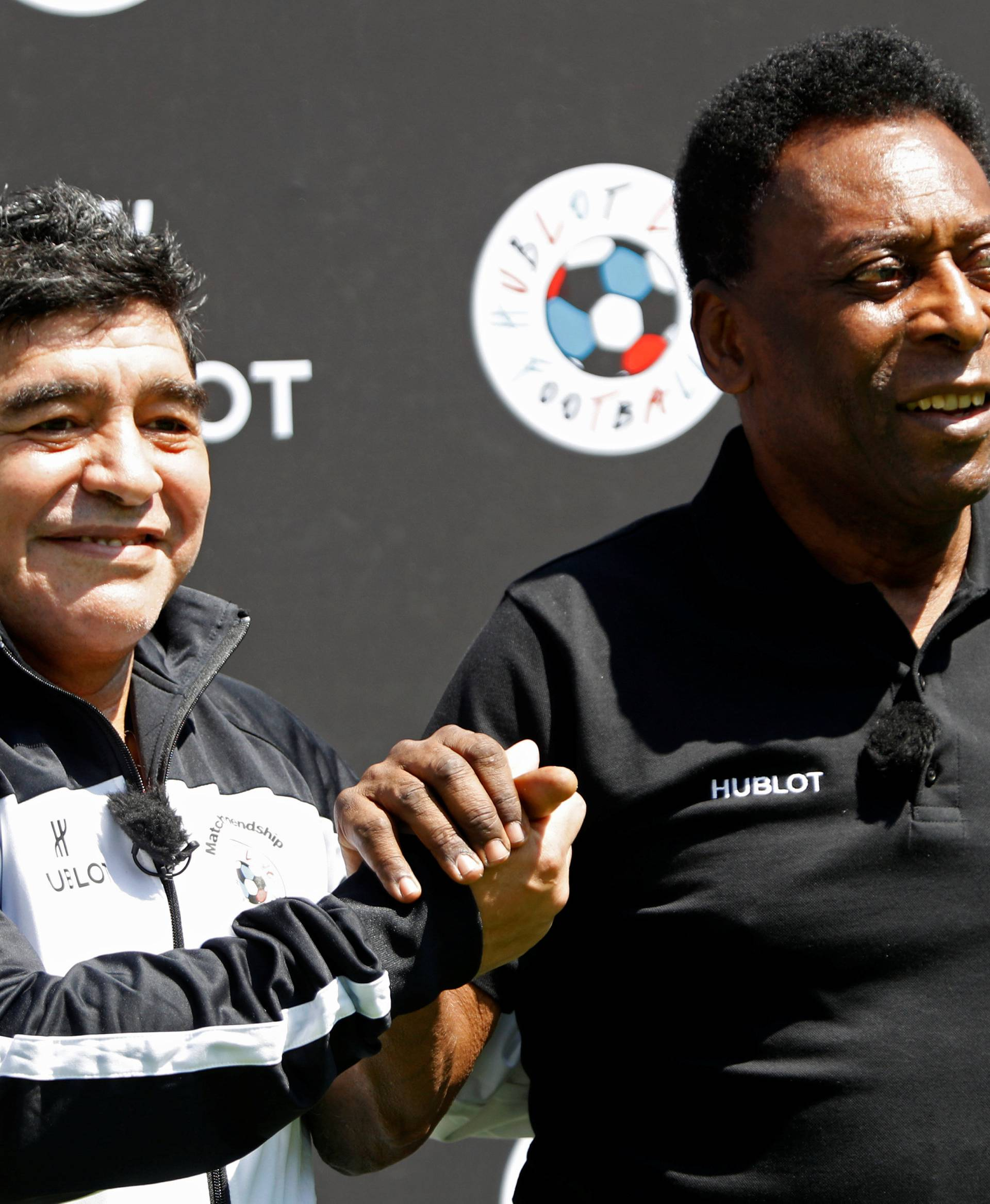 Football legends Pele and Diego Maradona attend an advertising soccer event on the eve of the opening of the UEFA 2016 European Championship in Paris