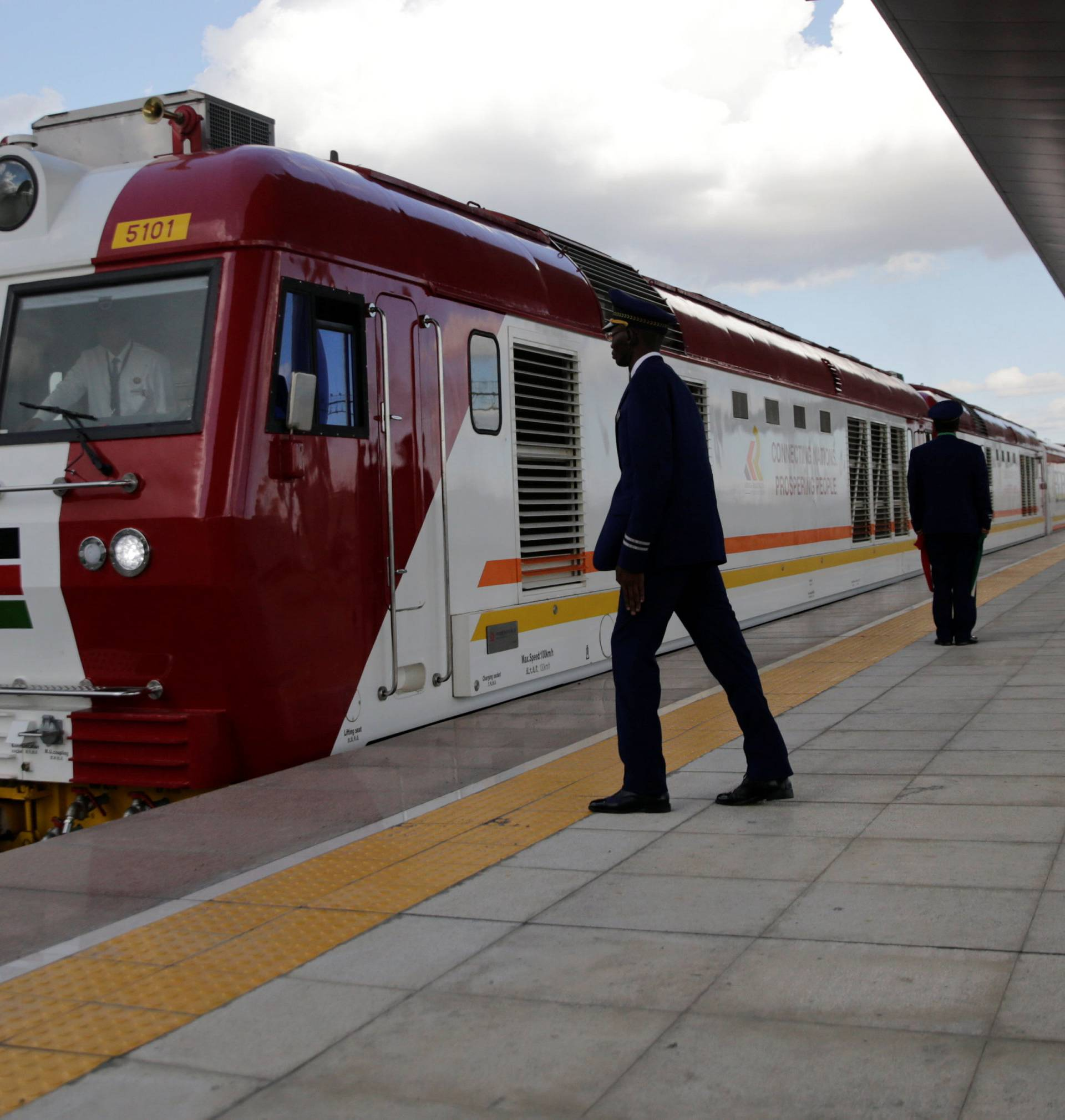 A train launched to operate on the SGR line constructed by the CRBC and financed by Chinese government arrives at the Nairobi Terminus in Nairobi