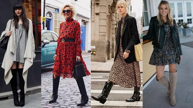 Chic kombinacija: Visoke čizme uz lepršave haljine s volanima