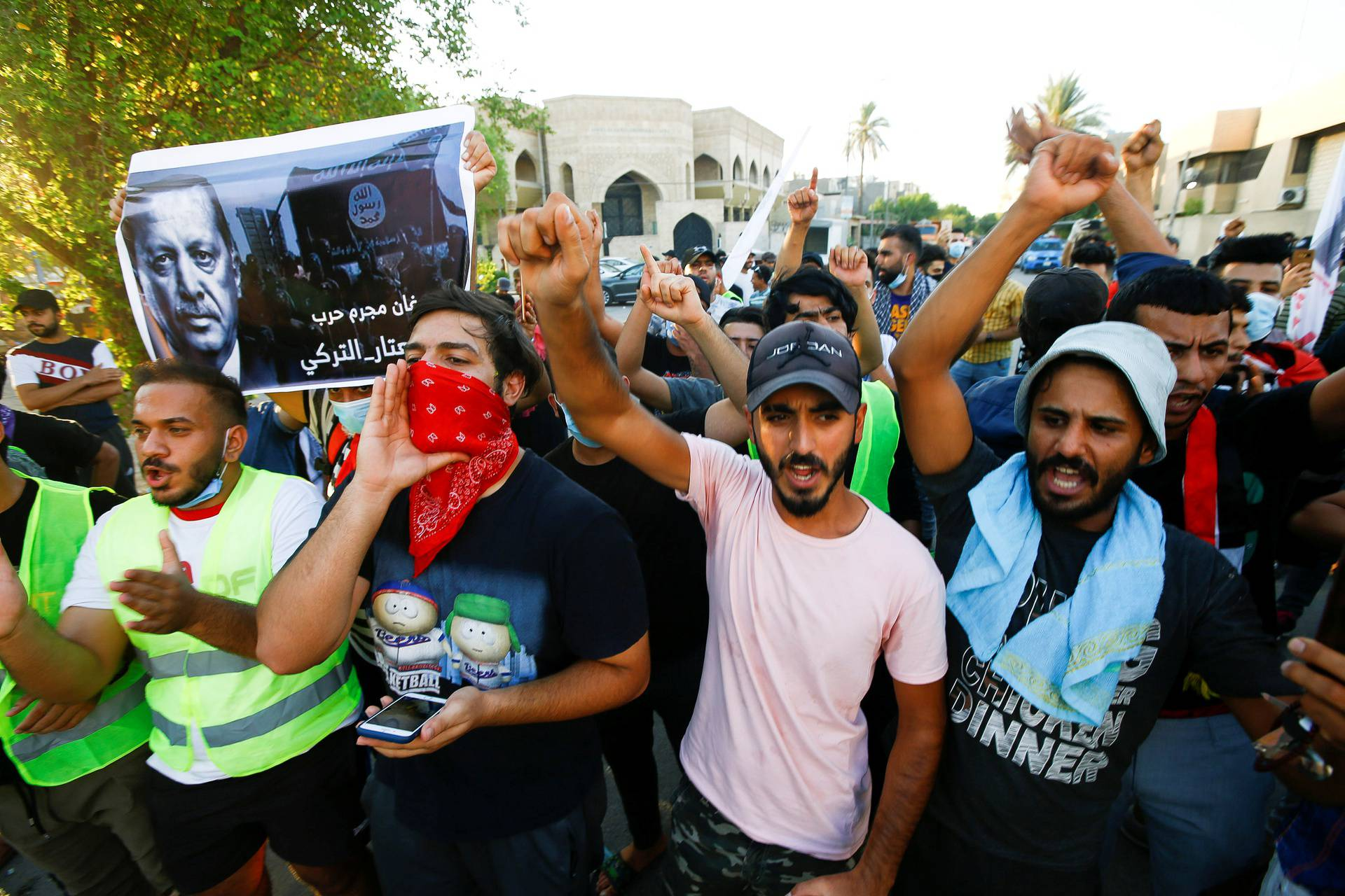 Demonstrators gather in front of the Turkish Embassy protesting against the killing of Iraqi boarder guards by a Turkish airstrike, in Baghdad
