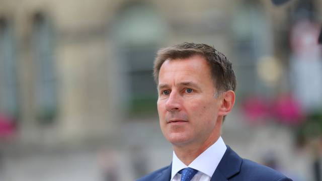 Britain's Secretary of State for Health and Social Care Jeremy Hunt arrives at the BBC in central London