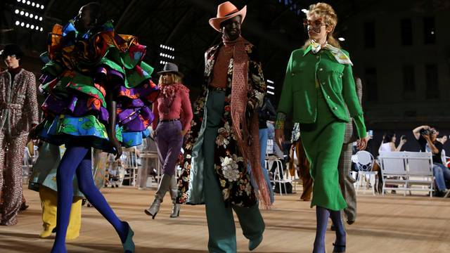 Models present creations from the Marc Jacobs Spring 2020 collection during fashion week in New York