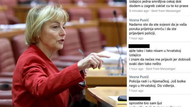 Prijetnje smrću i Vesni Pusić: 'Izdajico, zaklat ću te ko prase'