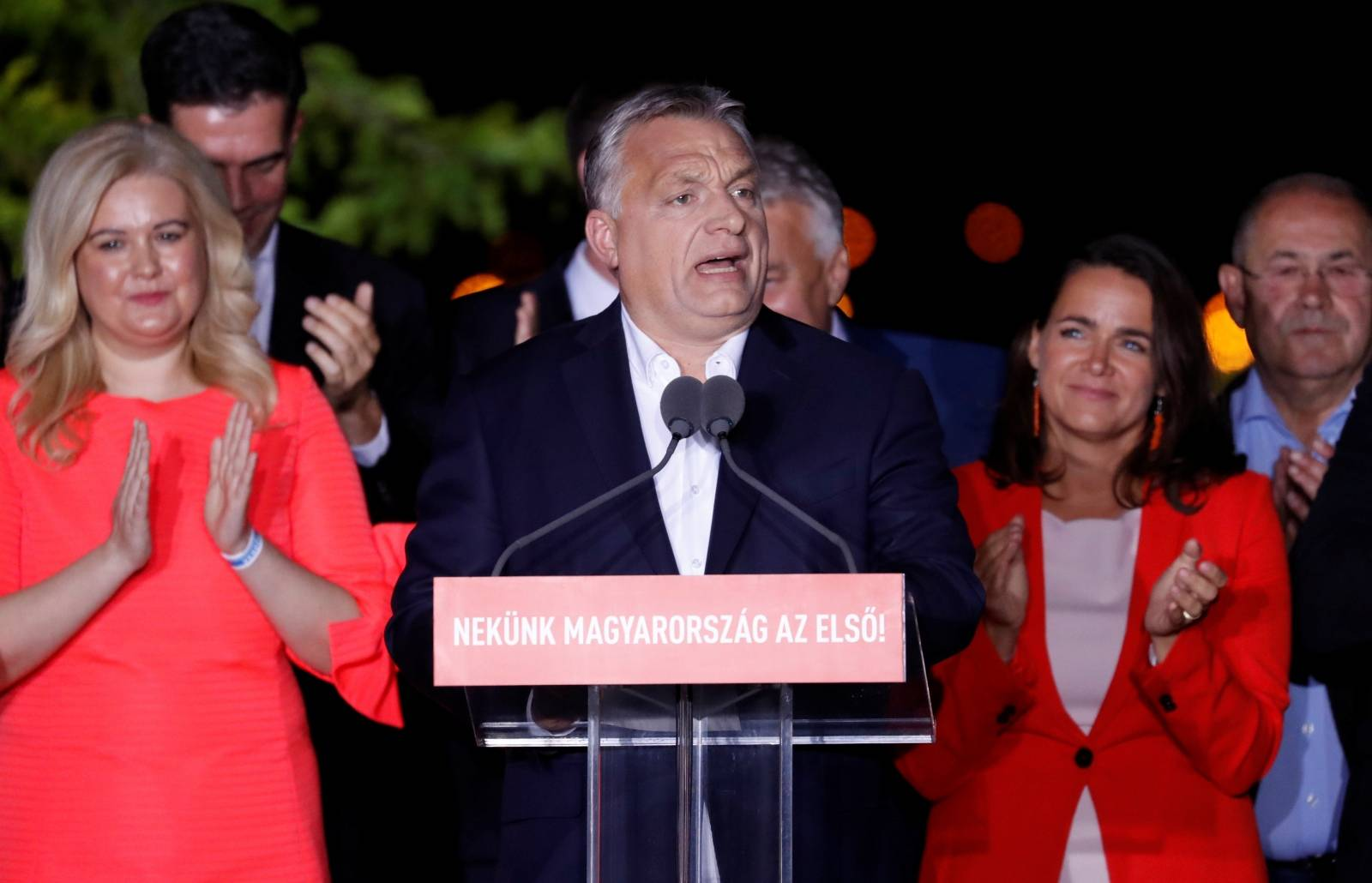 Hungarian Prime Minister Viktor Orban speaks following the preliminary results of the European Parliament election in Budapest