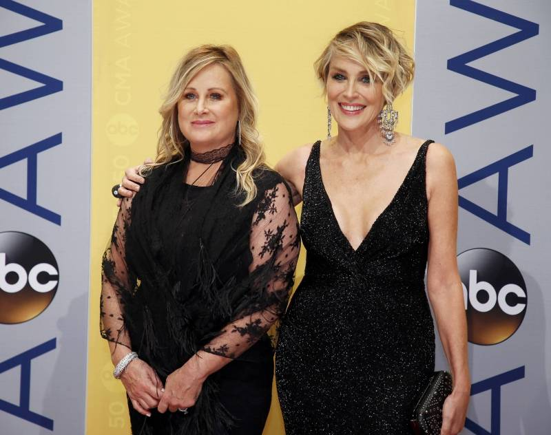 Sharon Stone and sister Kelly Stone arrive at the 50th Annual Country Music Association Awards in Nashville
