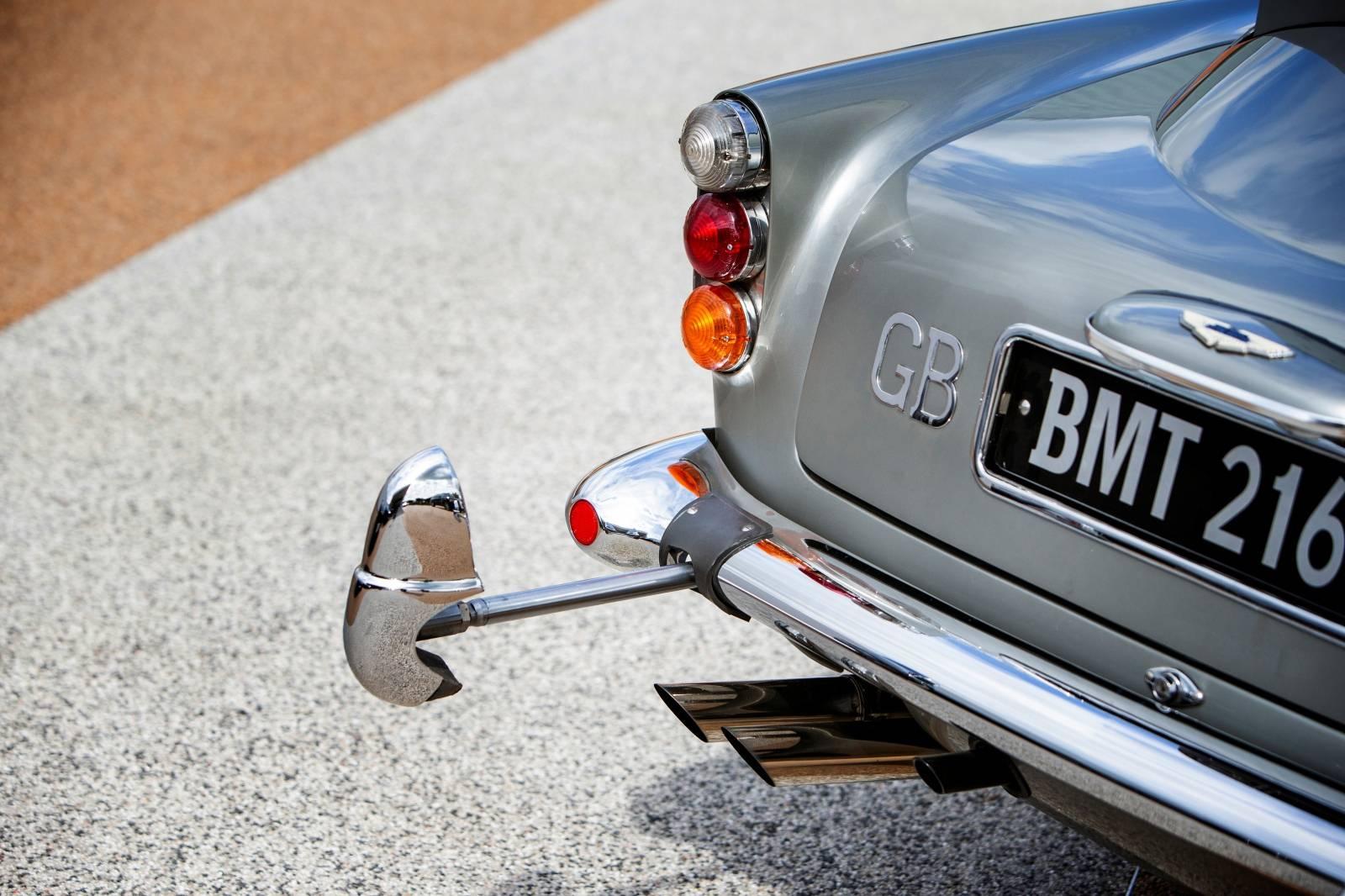 Handout photo of the detail of rear fender of an original Aston Martin DB5 James Bond car