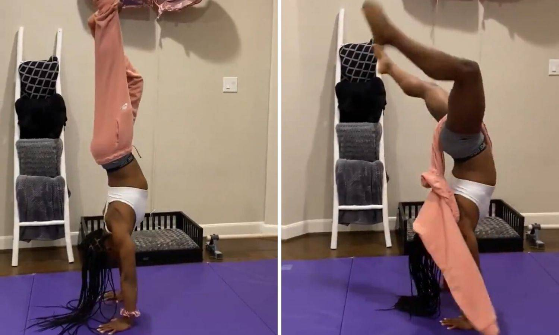 Gimnastičarka skinula hlače nogama stojeći na rukama...