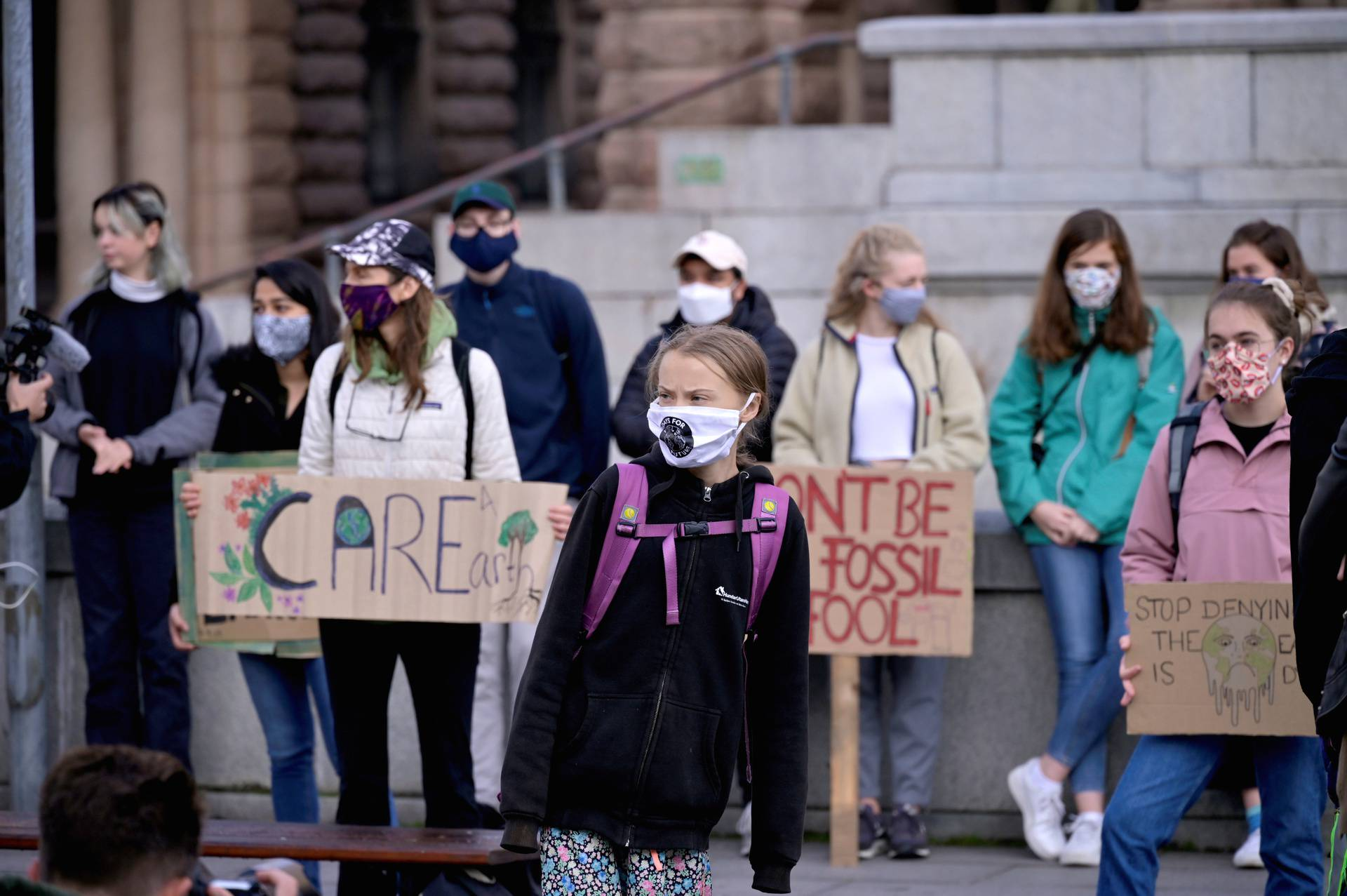 FILE PHOTO: Swedish climate change activist Greta Thunberg protests in front of the Swedish Parliament in Stockholm