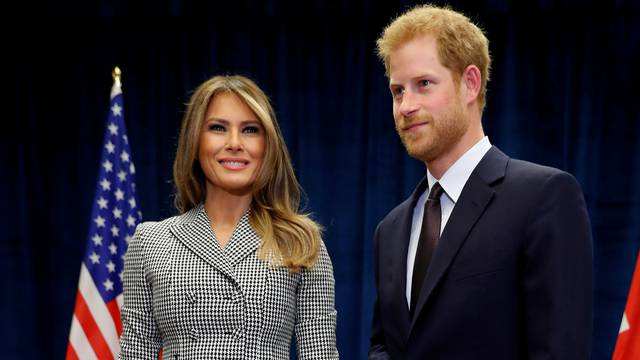 U.S. first lady Melania Trump meets with Britain's Prince Harry before attending the opening ceremony of the Invictus Games in Toronto, Canada