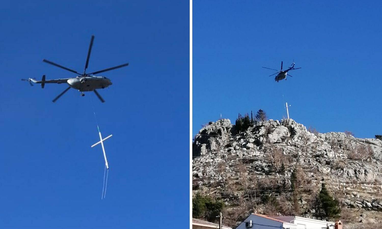 Helikopterom HV-a na Mosoru postavljaju križ od 10,5 metara