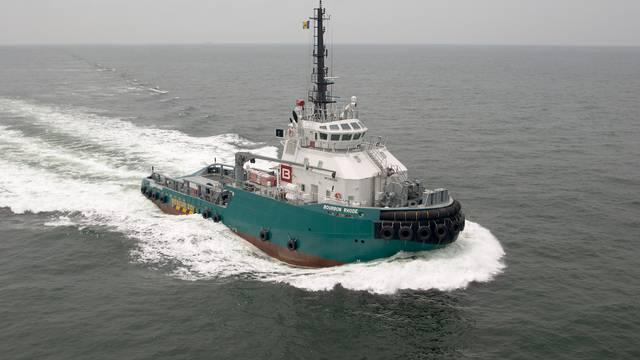 Photo aérienne du TUG Bourbon Rhode, remorqueur de terminaux pétroliers