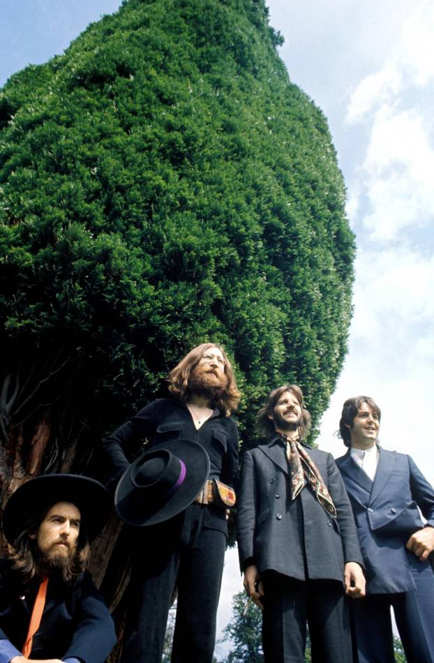 Members of the Beatles pose in Tittenhurst Park