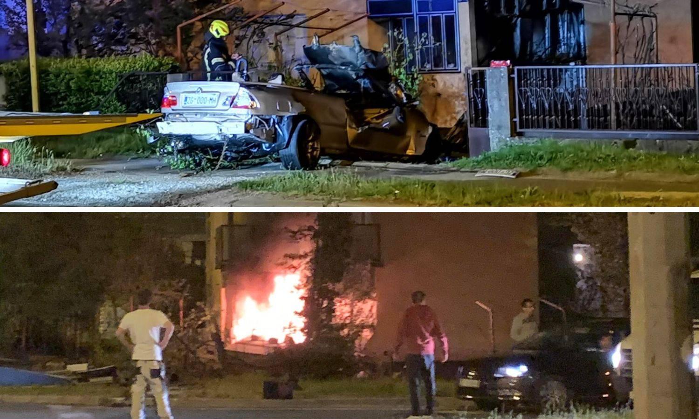 Nova snimka: Divljao BMW-om, udario u kuću, auto mu izgorio