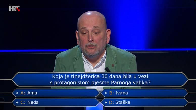 Tomislav u 'Milijunašu' ispao na pitanju o poznatoj domaćoj rock pjesmi: Znate li vi odgovor?