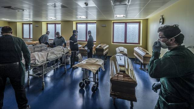 Ponte San Pietro Bergamo. Mortuary of the Ponte San Pietro Hospital in the Province of Bergamo the area in Italy where the highest number of infections were recorded by COVID19 Coronavirus