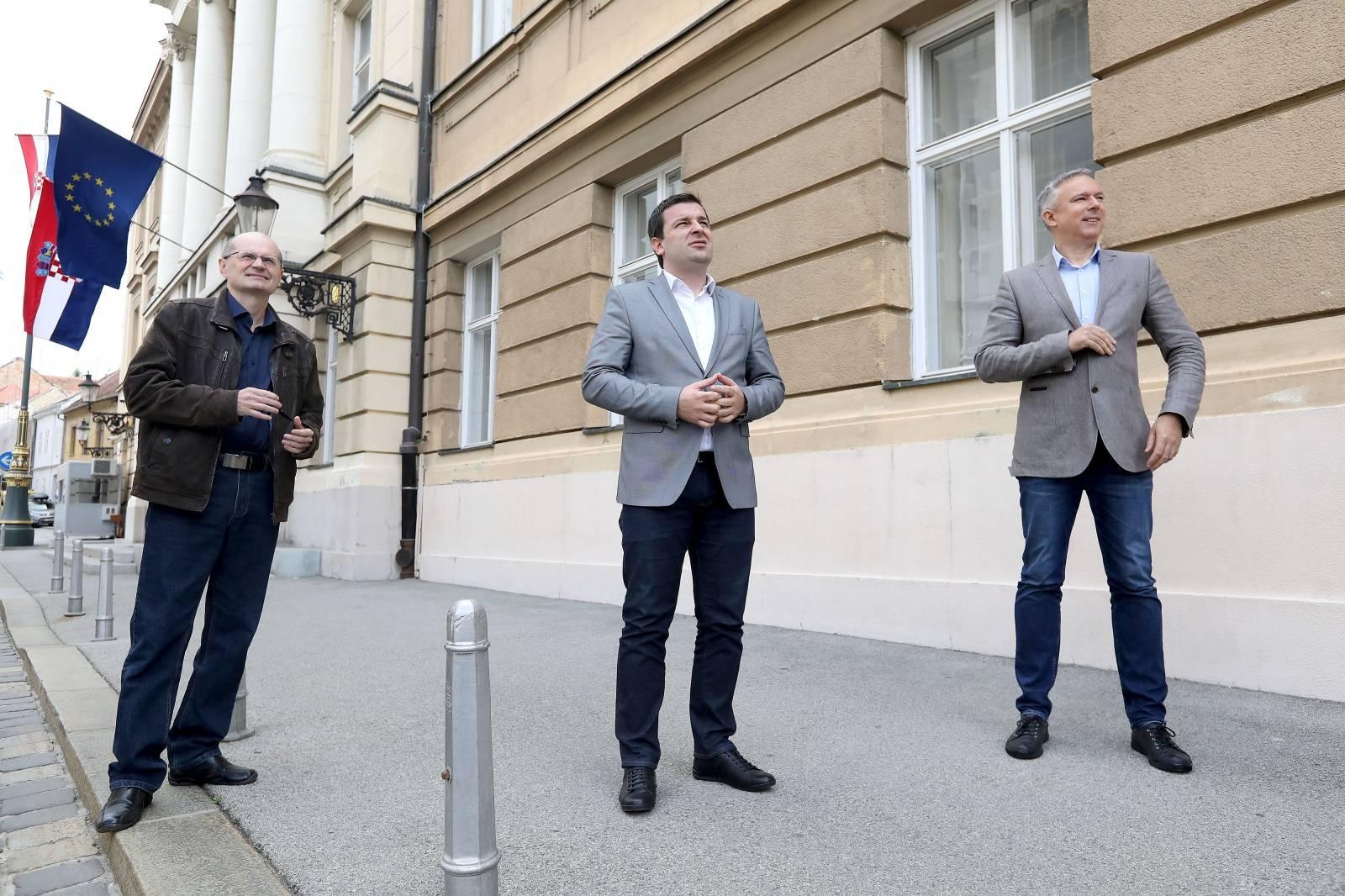 Zagreb: HSLS se obratio medijima ispred Sabora o obnovi Grada nakon potresa
