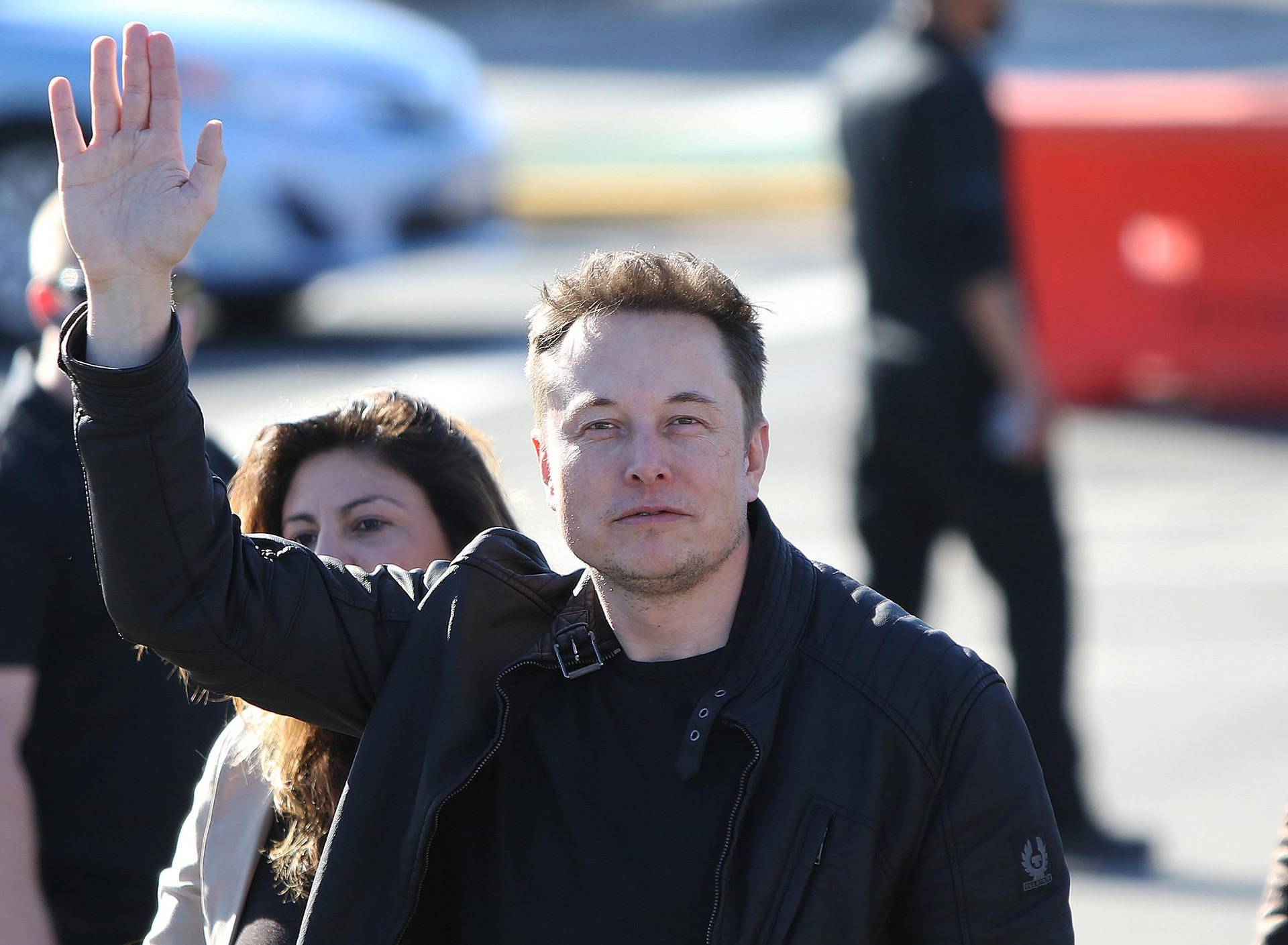 Elon Musk, founder and CEO of SpaceX arrives with Los Angeles Mayor Eric Garrett for the SpaceX Hyperloop Pod Competition in Hawthorne, Los Angeles