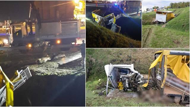 Na A3 sletio u kanal, dvoje teže ozlijeđeno, 17 svinja koje su ispale iz kamiona su uginule