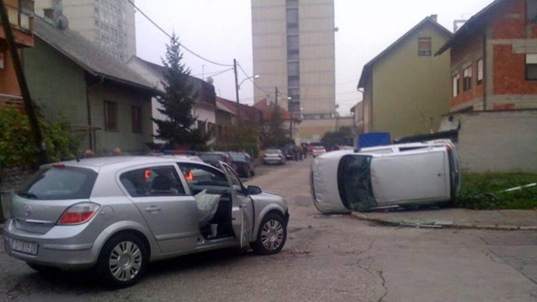 Vozačica se Fiatom nakon sudara prevrnula na bok