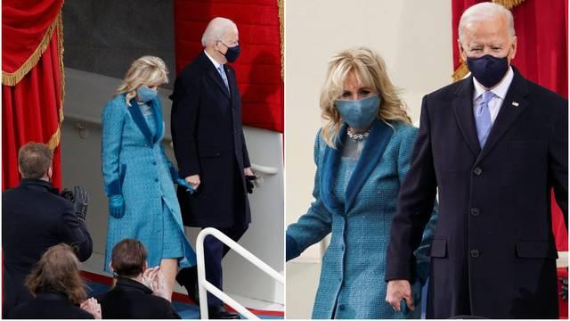 Prva dama zasjala u kaputu s biserima, uskladila je i masku