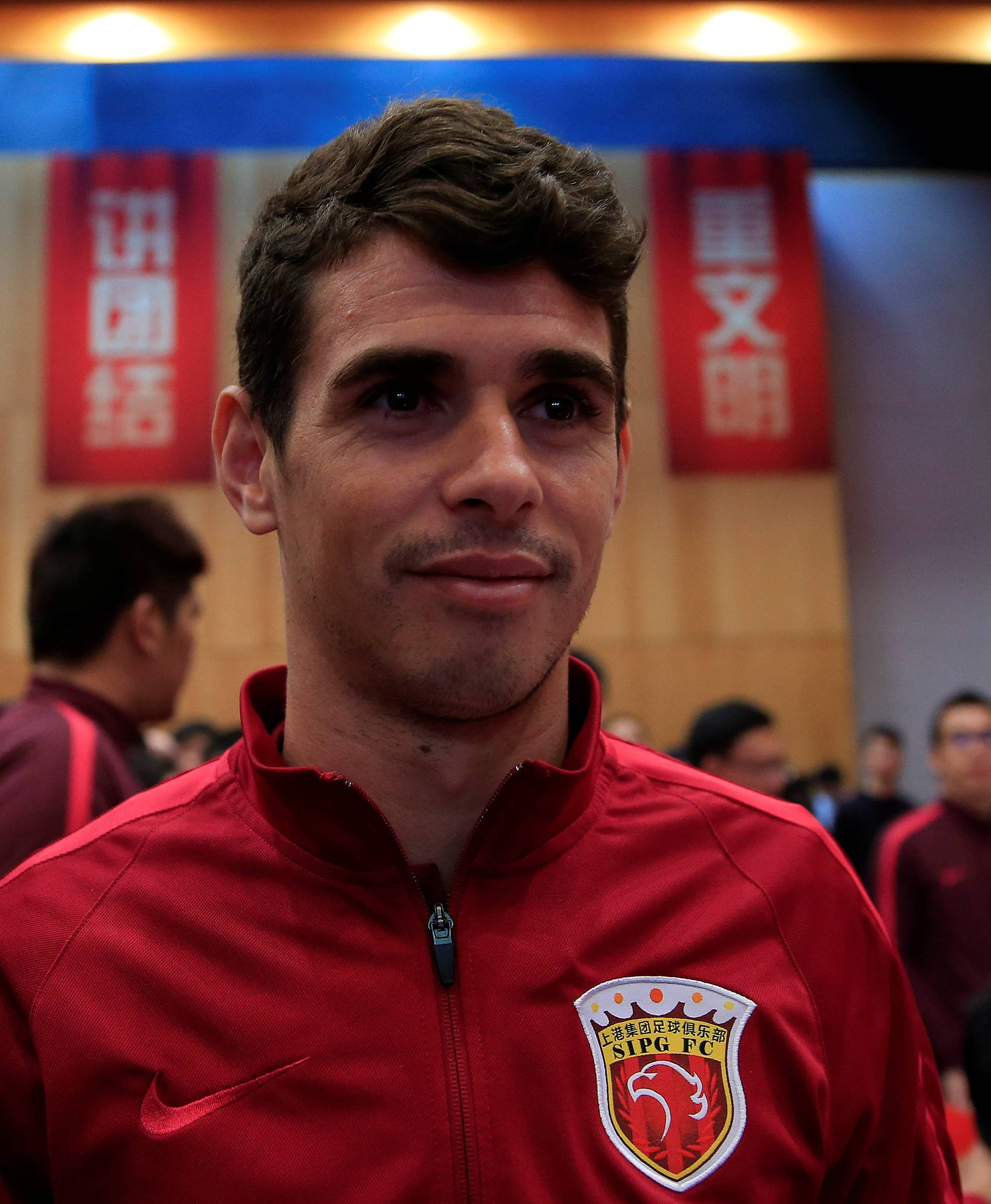 Brazilian soccer player Oscar attends the 2017 SIPG Football Club's season mobilization of the Chinese Super League, in Shanghai