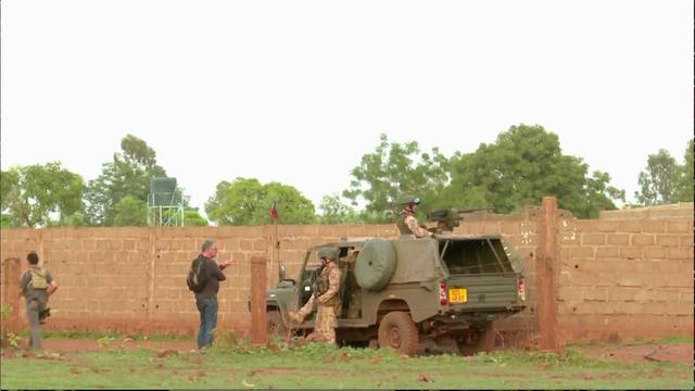 French soldiers are seen following an attack where gunmen stormed Le Campement Kangaba resort in Dougourakoro, to the east of the capital Bamako, Mali in this still frame taken from video
