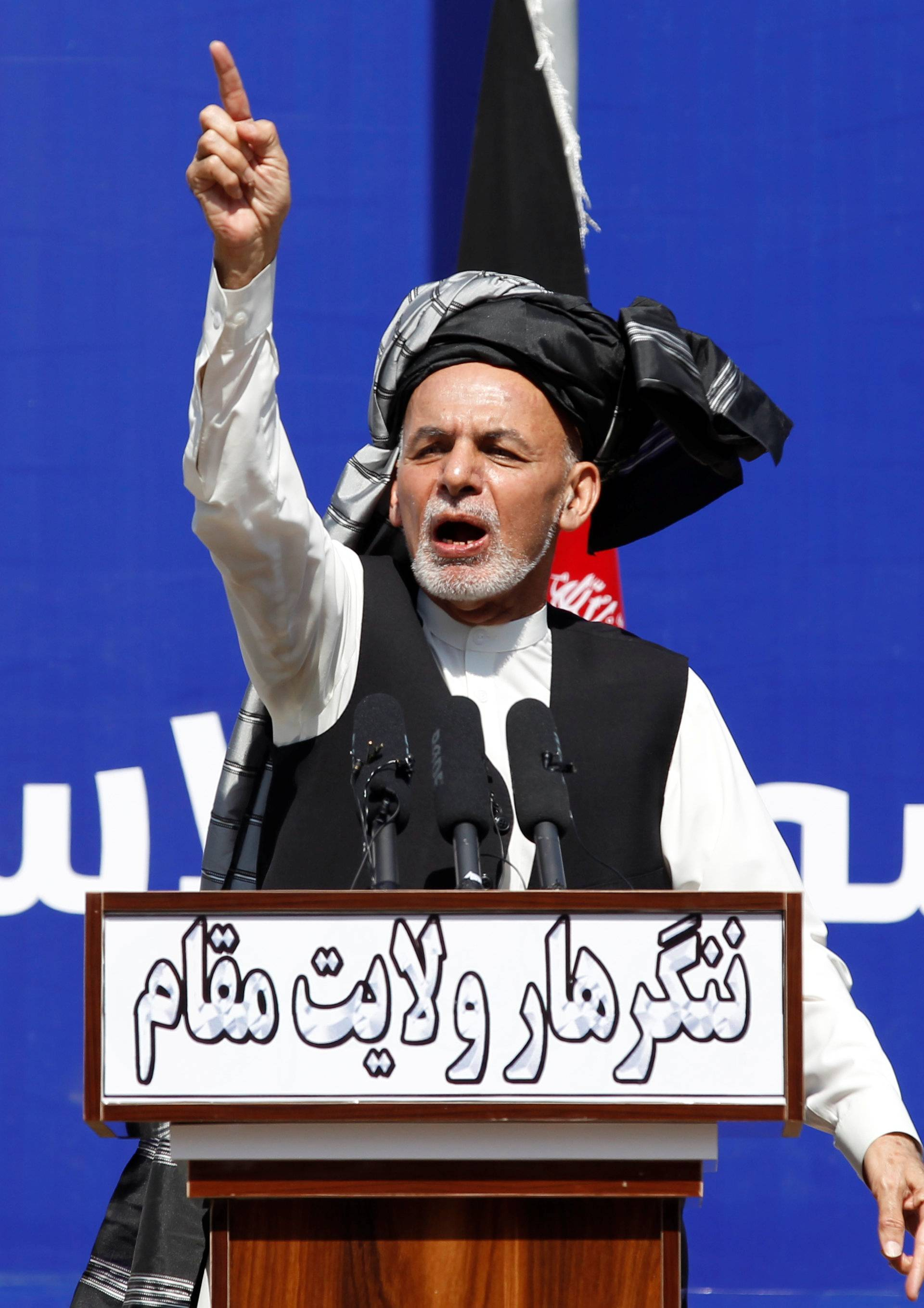 Afghanistan's President Ashraf Ghani, speaks during a gathering in Jalalabad, Afghanistan