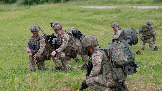 U.S. army soldiers take part in Suwalki gap defence exercise in Mikyciai