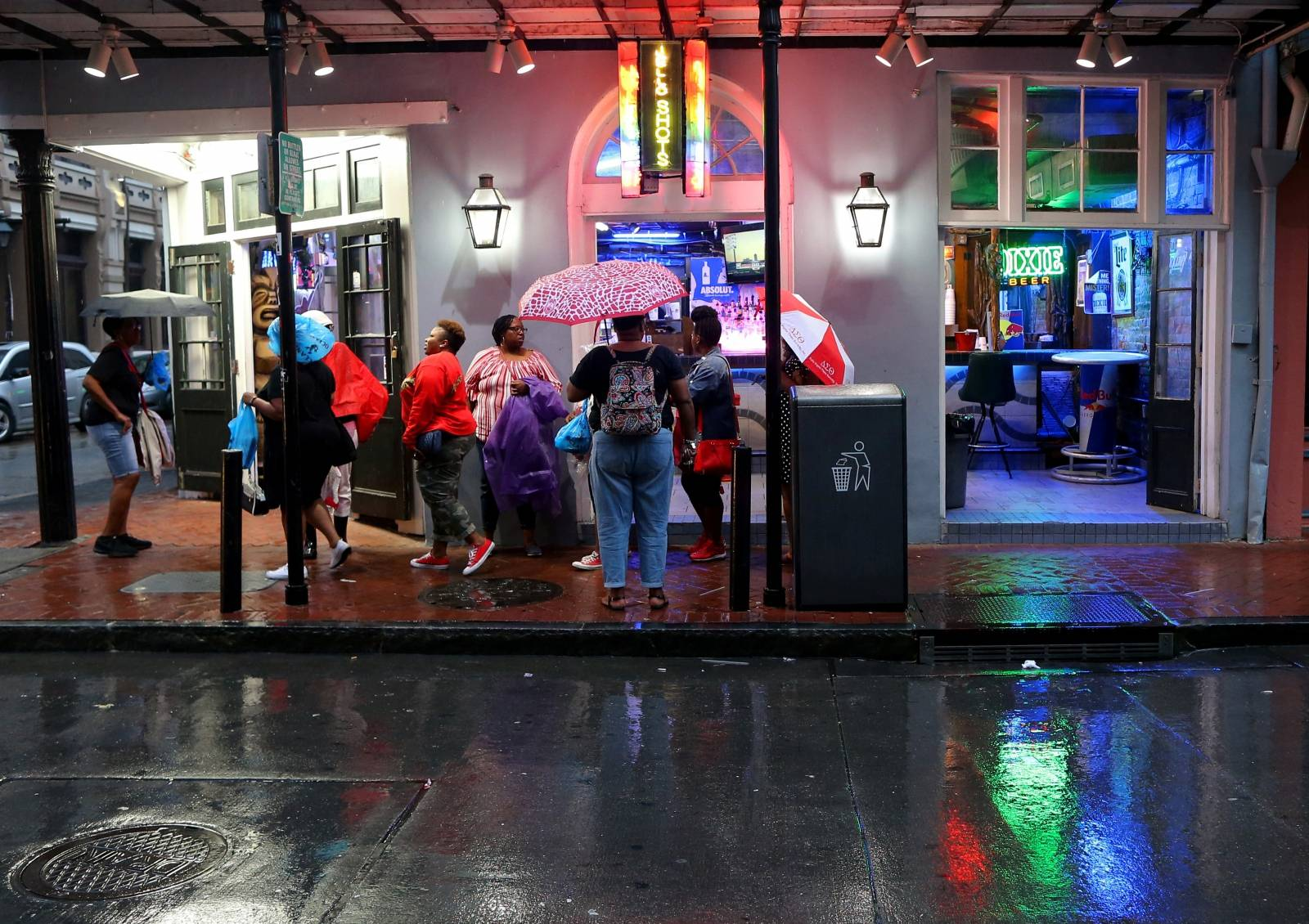 Tourists gather on Bourbon St. during Hurricane Barry in New Orleans