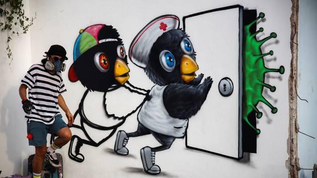 The coronavirus disease (COVID-19) street art in Bangkok