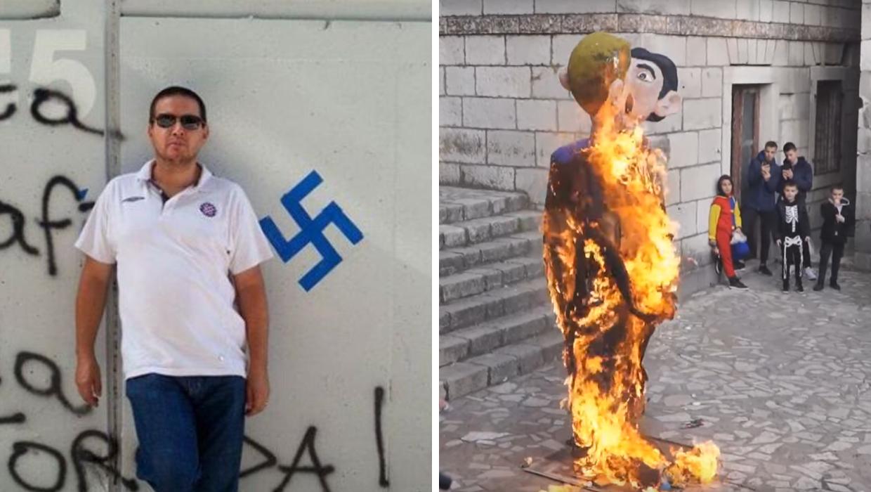 Organizator spaljivanja lutke u Imotskom pozira uz svastiku