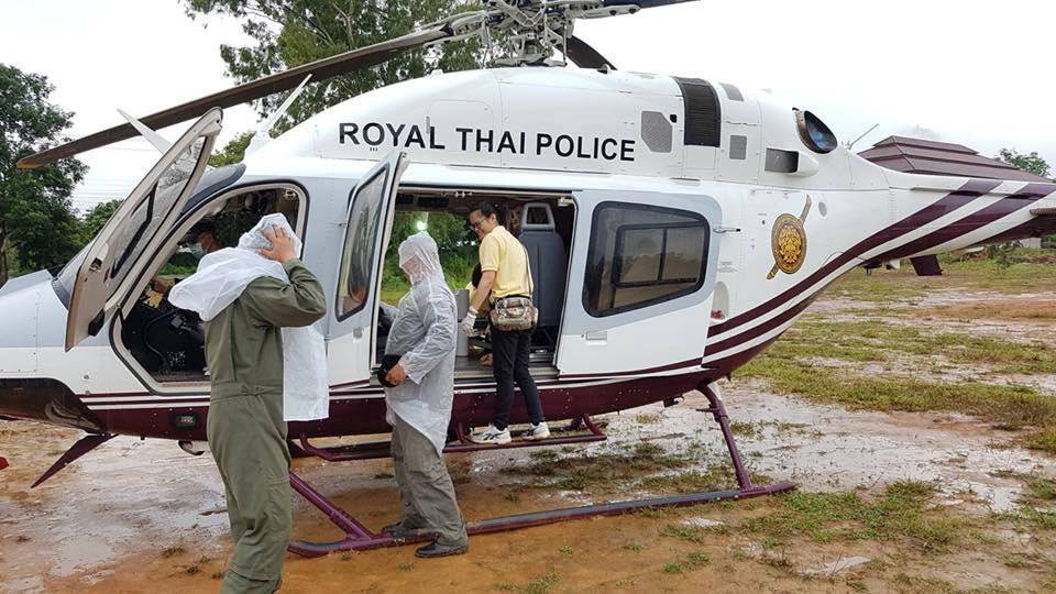 Rescue personnel prepare the transport for the evacuation of the boys and theirÊsoccer coach trapped in a flooded cave, in the northern province of Chiang Rai