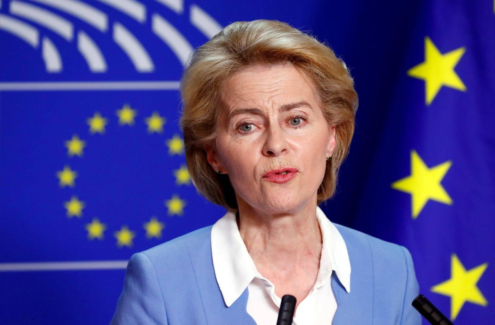 FILE PHOTO: German Defense Minister von der Leyen briefs the media at the EU Parliament in Brussels