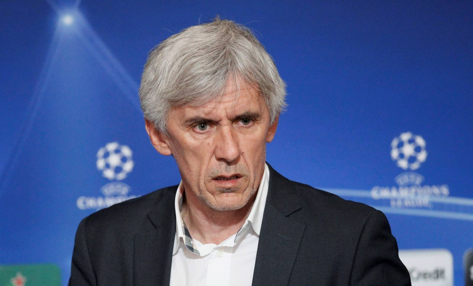 FILE PHOTO: Coach of Apoel Nicosie Jovanovic talks during a news conference before a training session in preparation of their Champions League soccer match against Olympique Lyon