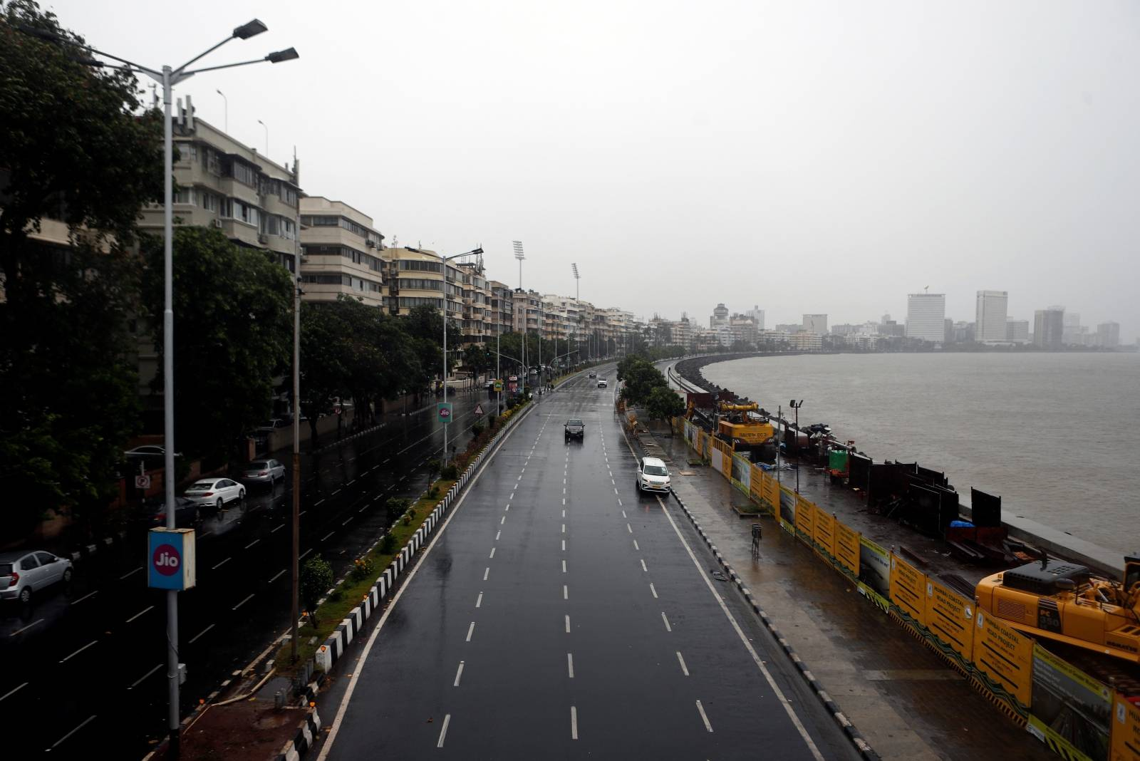 A deserted road is seen at Marine Drive before cyclone Nisarga makes its landfall, in Mumbai