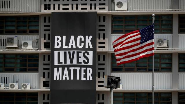 FILE PHOTO: A huge Black Lives Matter banner is seen at the U.S. embassy in Seoul