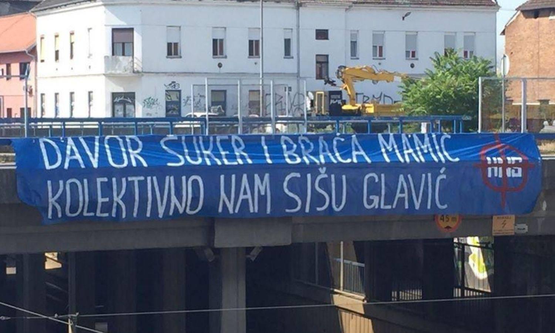 U Osijeku 'udarili' na Mamiće i Šukera, policija maknula natpis